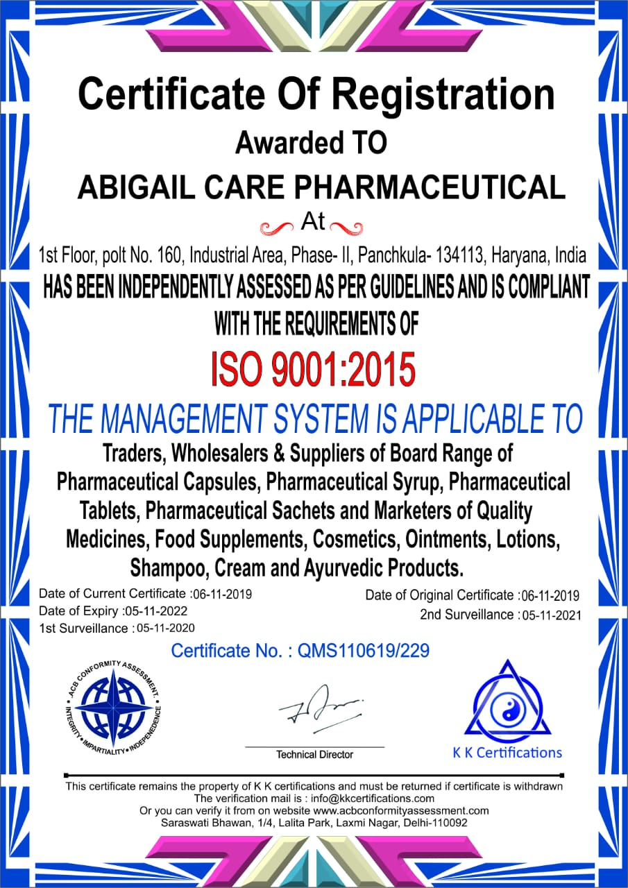 Abigail-Care-Pharmaceutical-ISO-9001-2015-Certificate-Best-Derma-Pharma-PCD-Franchise-Company